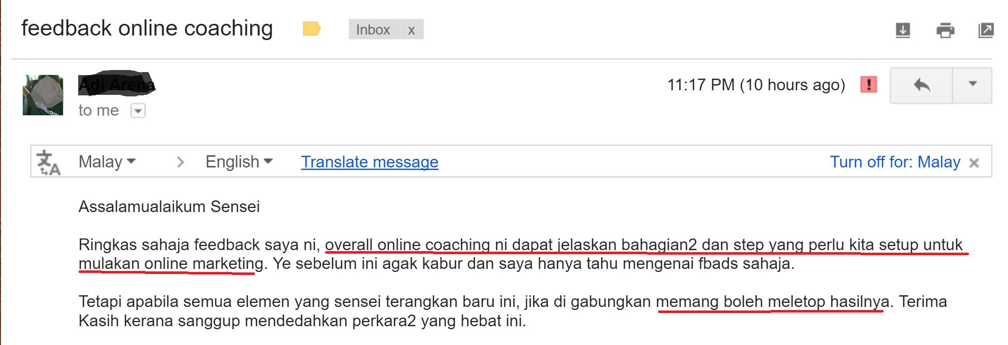 Testimoni peserta online coaching_Adi